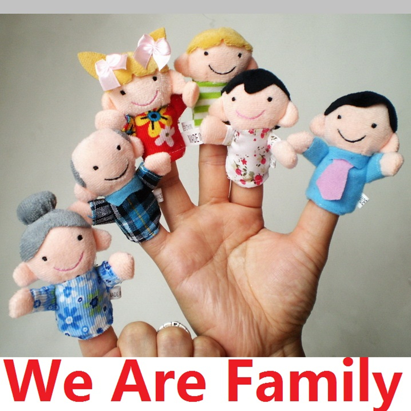 Hot Sales 6Pcs/lot Free Shipping Family Finger Puppets Cloth Doll Baby Educational Hand Toy Story Kid Gift