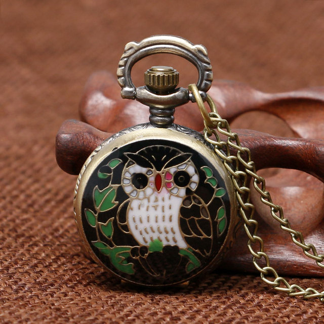 green/blue Owl pattern pocket watch chain fob watches women gift hours relogio f