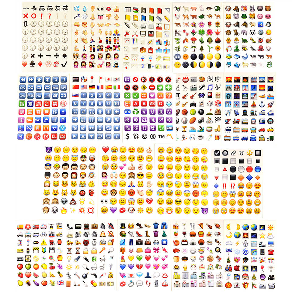 19 Sheets/Pack (1 Sheet=48 Sticker) Emoji Stickers Emoji Stickers Emoticons Smiley For Laptop Skateboard Diary Phone Stickers 5 sheets cut sticker 48 emoji smile face stickers for notebook laptop message twitter large viny instagram