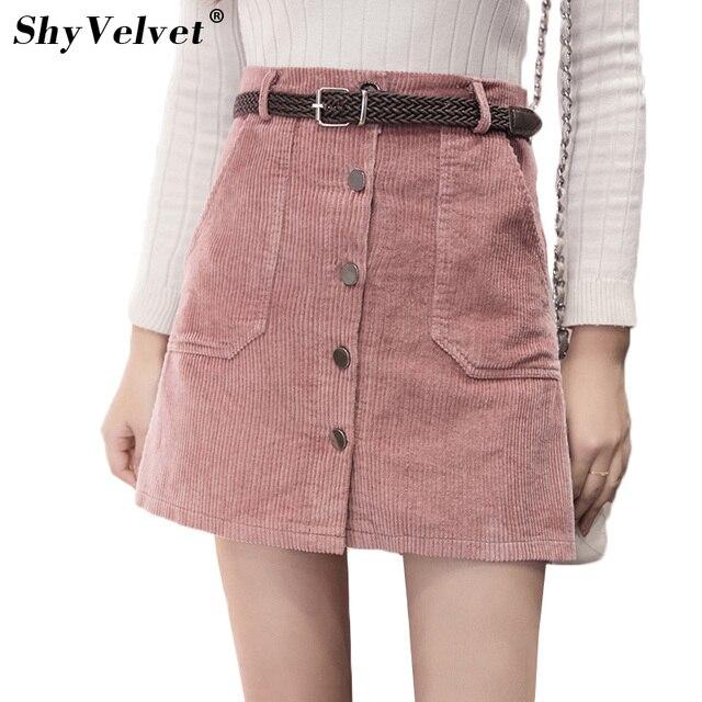 36970cf7d462 Autumn New Corduroy Skirts Womens Single-Breasted High Waist A Line Skirt  Pockets Pink Khaki Black Slim Mini Skirt