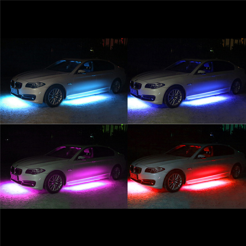 4x car rgb led strip light 5050 smd led strip lights under car tube 4x car rgb led strip light 5050 smd led strip lights under car tube underglow underbody system neon light tube kit with remote in decorative lamp from aloadofball Image collections