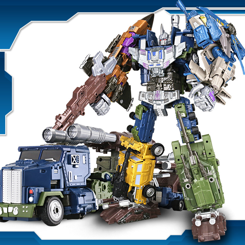 High quality G1 YX Bruticus Members ONSLAUGHT Blastoff Vortex Brawl Swindle 5IN1 Transformation Alloy X9 Enlarge KO Figure Toys