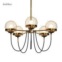 Modern 5 8 10 Lights Designer Chandelier Lighting Nordic Glass Ball Bronze Color Chandeliers Restaurant Living