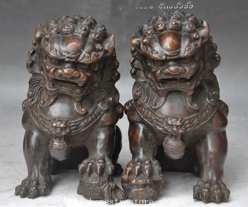 Crafts statue china bronze fengshui foo dog lion beast Guardian door Ward off evil statue pair halloween