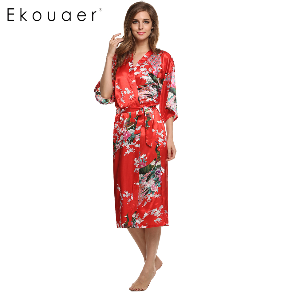 8c6bd728c0 Women Satin Kimono Robe Sleepwear Silk Pajama Casual Bathrobe Long Sexy  Nightgown Dressing Gown Night Robes ...