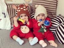 Зима семьи сопоставления одежда наряды Рождество Санта Мультфильм Хлопок Красный Топы Футболка отца и сына одежды Семья Посмотрите Ползунки