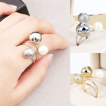 2018 new silver gold simulation pearl Korea elegant female cute girl metal ball allergy free opening ring adjustable