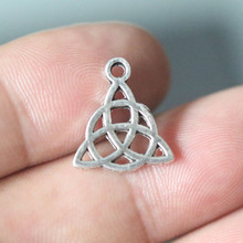 50pcs-15x17mm Trinity Knot Charms,Vintage Antique Silver Pendant DIY Necklace Bracelet Jewelry Making Finding Pagan Wicca Gothic