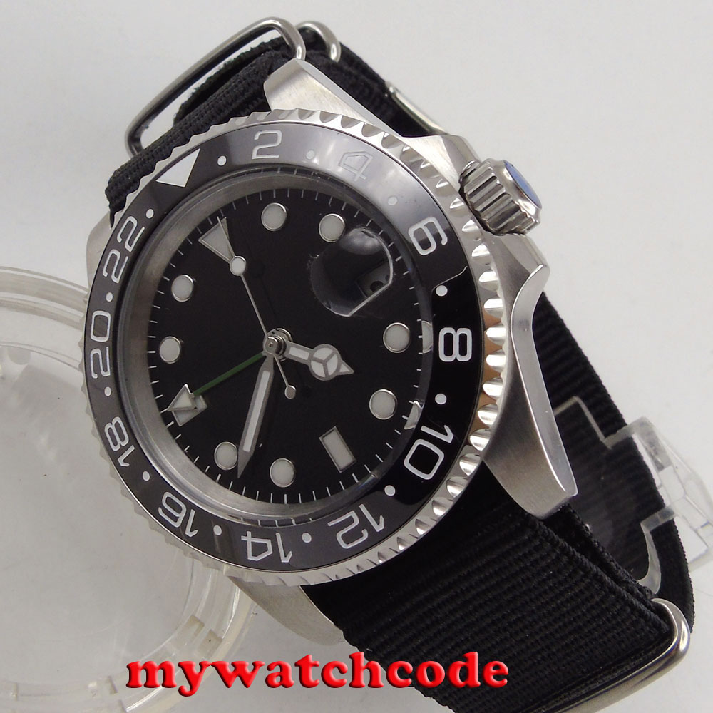 40mm Bliger black dial GMT date window automatic movement mens watch B169 цена и фото