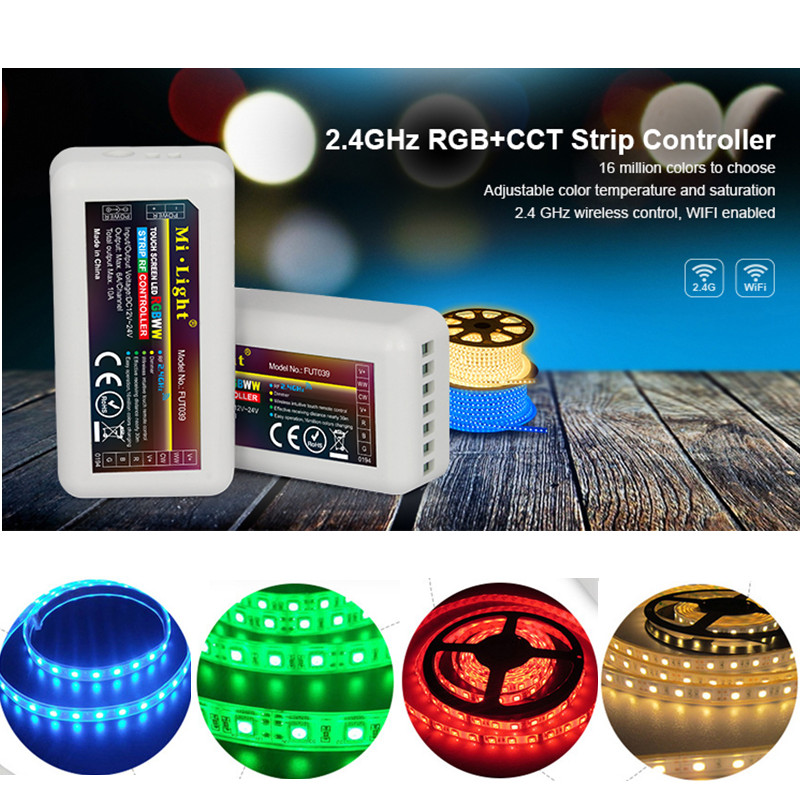 Shock-Resistant And Antimagnetic Lights & Lighting Disciplined 12-24v Mi Light 2.4ghz Rgb+cct Strip Controller Fut039 Adjustable Color Temperature And Saturation Wireless Control Wifi Enabled Waterproof