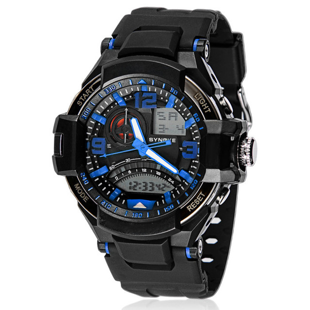 SYNOKE Men's Military Watches 2017 Brand Multifunction Digital LED Watches Mens Rubber Life Waterproof Sports Watch Clock #N