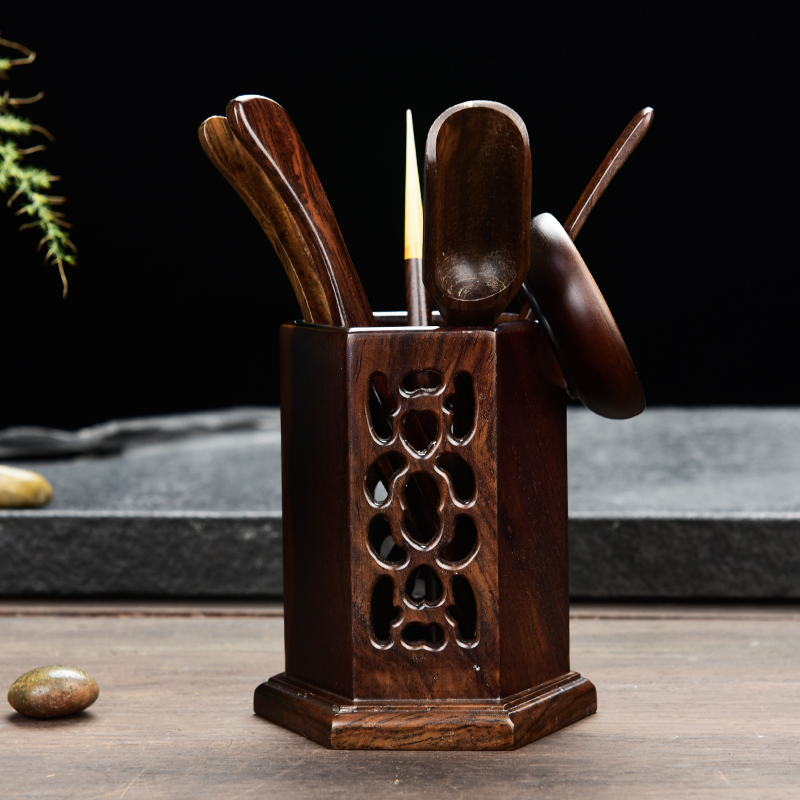 6PCS/SET Tea Ceremony Tea Accessories Ceramic Ebony Wood Bamboo Coffee Tea Tool Set Decoration Pen Holder Vase Tea Pet Ornament