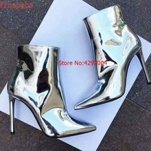 Silver Gold Patent Leather Ankle Boots 10.5CM High Heels Boots Women Winter Shoes Female Pointed Toe Woman Spring Autumn Boots zorssar 2018 new arrival fashion women chelsea boots patent leather pointed toe high heels ankle boots winter women shoes
