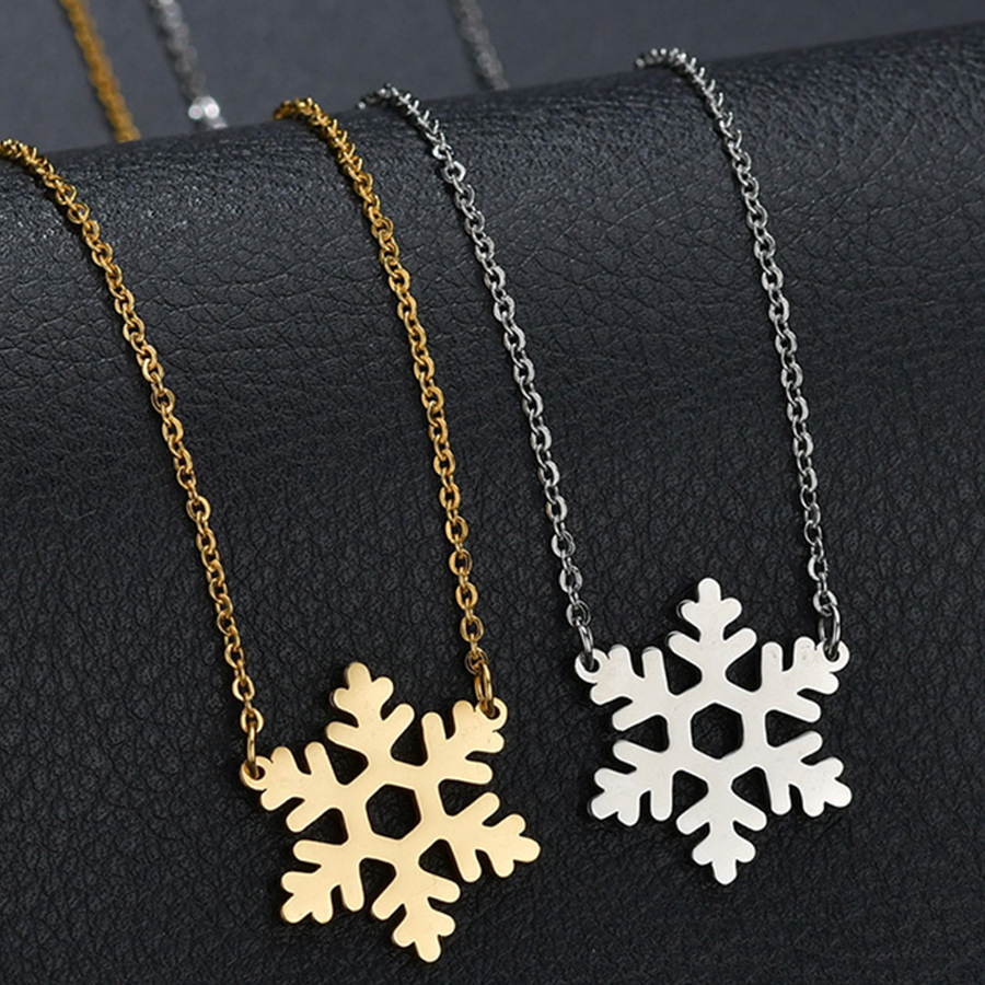 HOBBORN Trendy Snowflake Women Choker Necklace Stainless Steel Gold Silver Color Anti-allergy Christmas Series Jewelry Love Gift