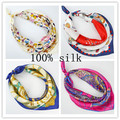 Женская 100% шелковый шарф женский весной и летом печати шелковый шарф девочек банк рабочая одежда шарф 53*53 см