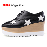 Genuine Leather Height Increasing Shoes Ladies Luxury Brand Shoes Women Flat Platform Shoes Womens Flats Casual Footwear A456