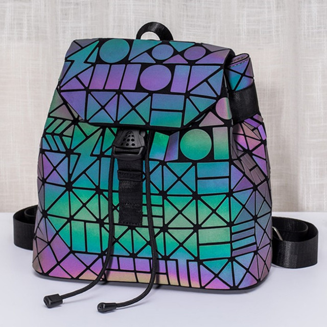 Luminous Backpack stitching Lattice Bag Men Women Backpack for Travel girl School Bag for Student's Backpack Hologram sac a dos 4