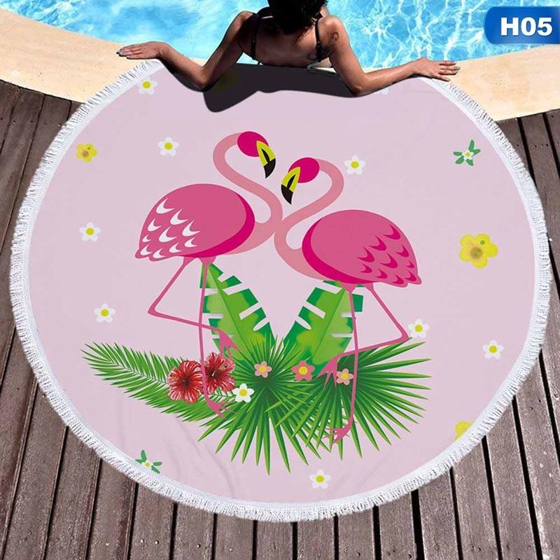 2019 Nieuwste Ontwerp Nieuwste Stijl Mode Yoga Mat Flamingo Ronde Strandlaken Met Kwasten Microfiber 150 Cm Picknick Deken Mat Tapijt Laatste Mode