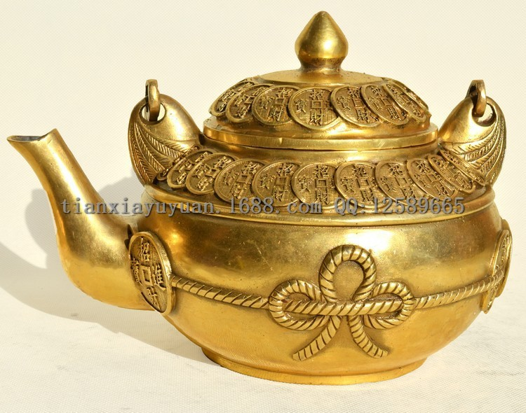 Chinese Copper Vintage Fengshui Pot Fortune Maker Golden Lucky Home Decoration Money Pot Furnishing Articles