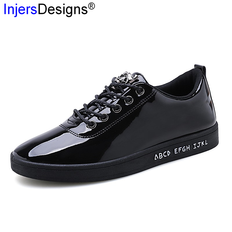 New Arrival Fashion Patent Leather Casual Sneakers Men Skateboarding Shoes Soft Lace-Up Breathable Trainers Size 39-44 Mocasines