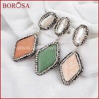 Handcraft Elegant Pearl Drop Earrings For Women 100 Natural Red Coral Pearl With Black Gun Zircon
