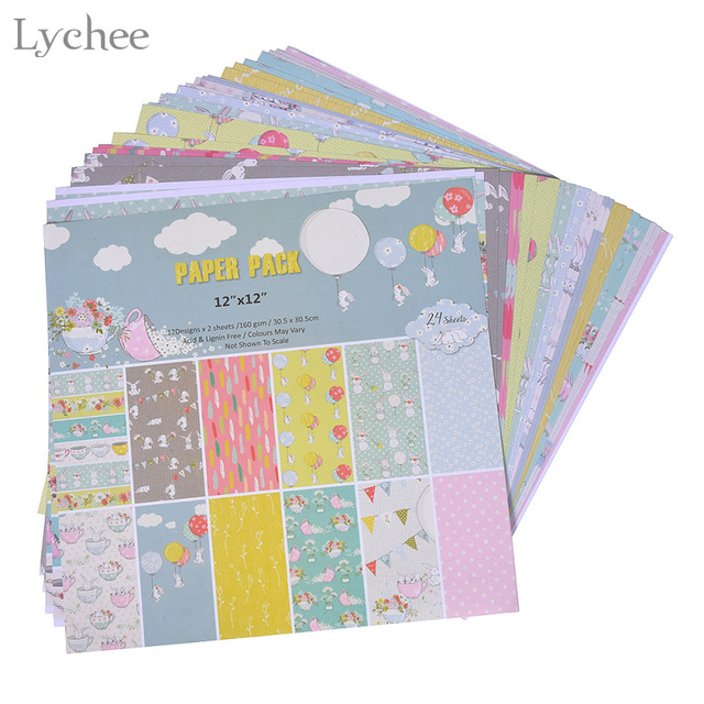 Lychee 24 Sheets Vintage Scrapbook Paper Crafts Art Card Photo Album