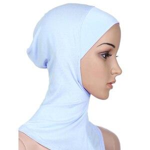 Image 5 - 新着 7 色イスラム教徒のスタイルフルカバーインナー綿ヒジャーブキャップイスラムターバンヘッド磨耗帽子 Underscarf ヒジャーブ