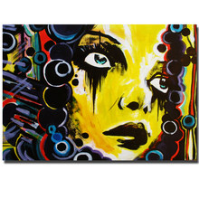 New Graffiti Street Wall Art Abstract Yellow Girl Modern Women Portrait Canvas Oil Painting On Prints For Living Room Unframed(China)
