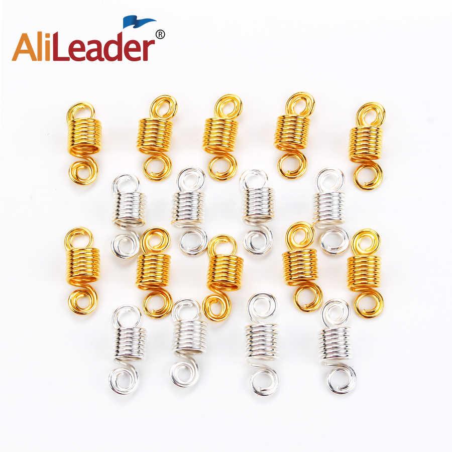 Alileader Популярные серебристые бусины для волос для черных женщин микро волосы кольцо плетеные украшения спиральный металл микрозвено трубки подвески
