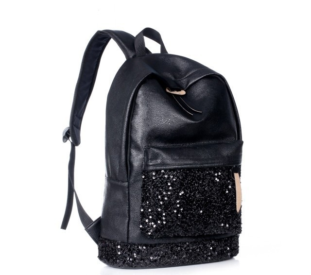 Unisex man Backpack Black shining Big Crown Embroidered Sequins Women Leather shoulder bag school bag for teenage girls fashion women backpack fashion pvc faux leather turtle backpack leather bag women traveling antitheft backpack black white free shipping