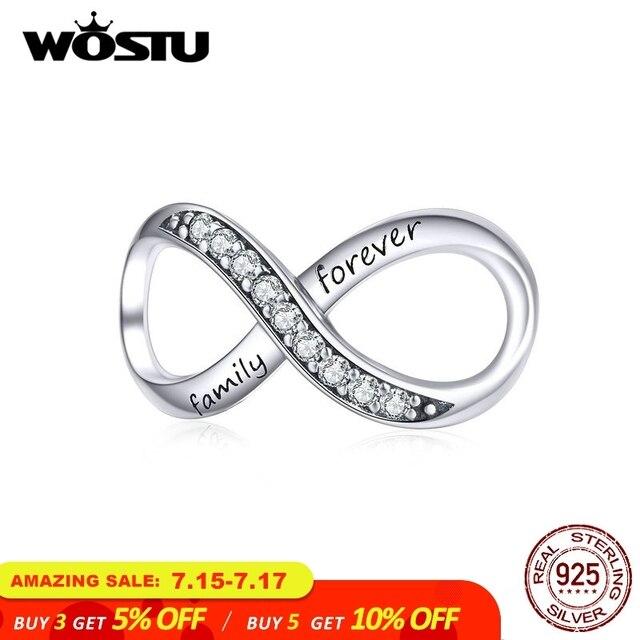 WOSTU Família Para Sempre Infinito Amor Encantos 925 Sterling Silver Bead Fit Pulseira Original Design de Jóias Pingente de Cruz CQC1146