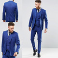 Custom Made Blue Men Suits One Button Groom Tuxedos Wedding Suits For Men Groom Wear Slim Fit Tuxedos For Men (Jacket+Pant+Vest)