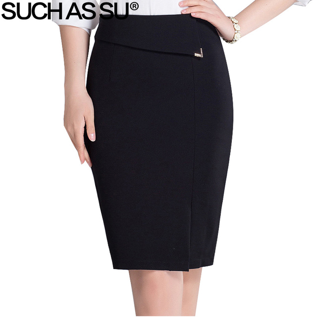 a9bec72495c SUCH AS SU Brand New Work Pencil Skirts Womens Black Knit Knee-Long Skirt S-3XL  Plus Size Fashion Female OL Office Wrap Skirt