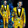 2018 Brand Fashion Men Suits Wedding Gold Floral Blazers Slim Fit Business Male Singer DJ Tuxedo