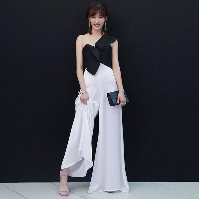 2018 Backlackgirl Elegant Beautiful New Arrival White And Black Color  Evening Dress Tide Birthday Small Full Dress Model Clothe 688565c29e31