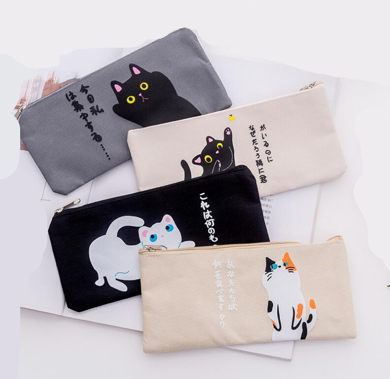 Cartoon Cat Pencil Case For Girls Canvas School Supplies Stationery School Pencil Bag Cute Pen Case