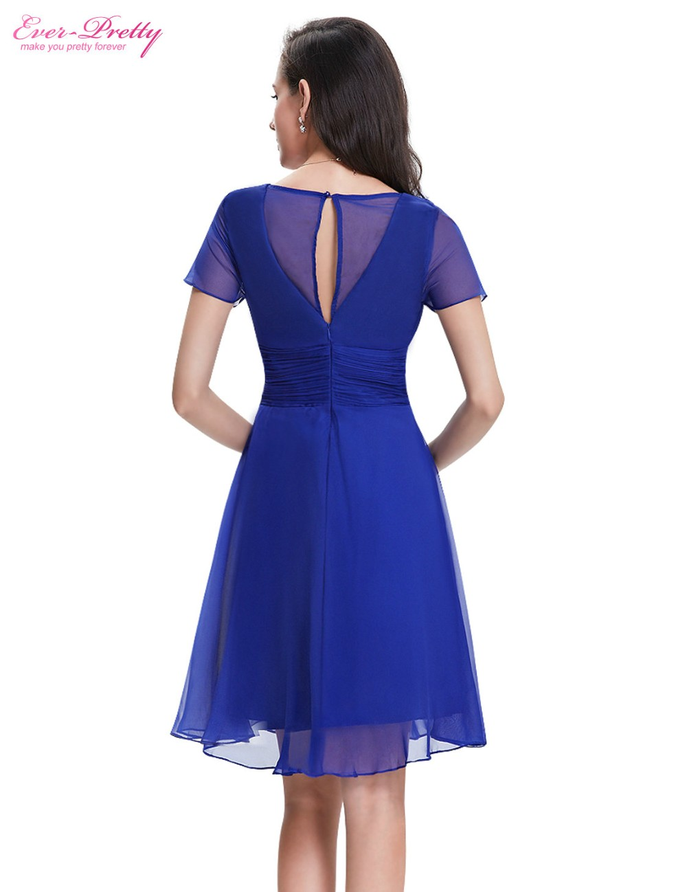 Short Sleeve V Neck Ruched Bust Chiffon Party Dress 8