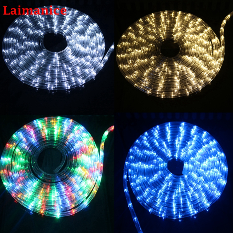 2m 20m ac220v ip67 waterproof rainbow tube rope led strip christmas outdoor holiday decoration lights with 8 mode controller