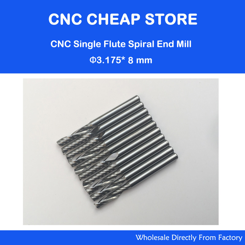 10pcs 3.175*8MM Single Flute Bit Carbide End Mill Set, CNC Router End Mills for Wood Cutter Milling, Acrylic Cutting Bits  2pcs 6 52mm tungsten carbide single flute milling cutter 6mm cnc mill bit wood router end mills set tools acrylic woodworking