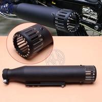 Motorcycle Iron Cafe Racer Exhaust Pipe with Sliding Bracket Matte Black Universal Fit Honda Yamaha Kawasaki