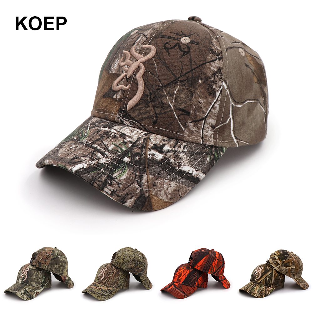 Low Price Koep Browning Camo Baseball Cap Fishing Caps Men Outdoor Timing Belt Pulley Hunting Camouflage Jungle Hat Airsoft Tactical Hiking