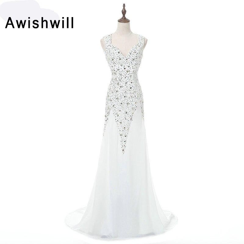 Robes de bal blanches longues col en v sans manches perles en mousseline de soie dos ouvert Sexy robe de soirée reconstitution historique robe de soirée robes de Gala