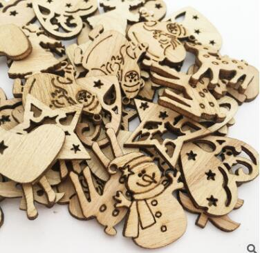50 mini wooden Christmas tree buttons