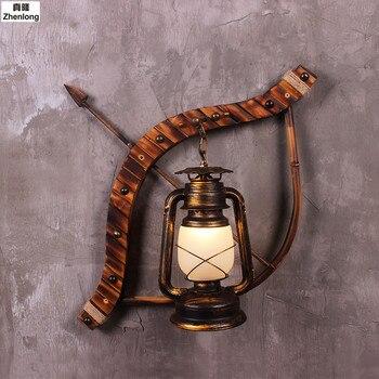 Cupid Panah Amerika Industri Kreatif Besi Tempa Lampu Dinding Minyak Tanah Antik Bar Dekorasi Lampu Panah Menunjukkan Dinding Cahaya Led