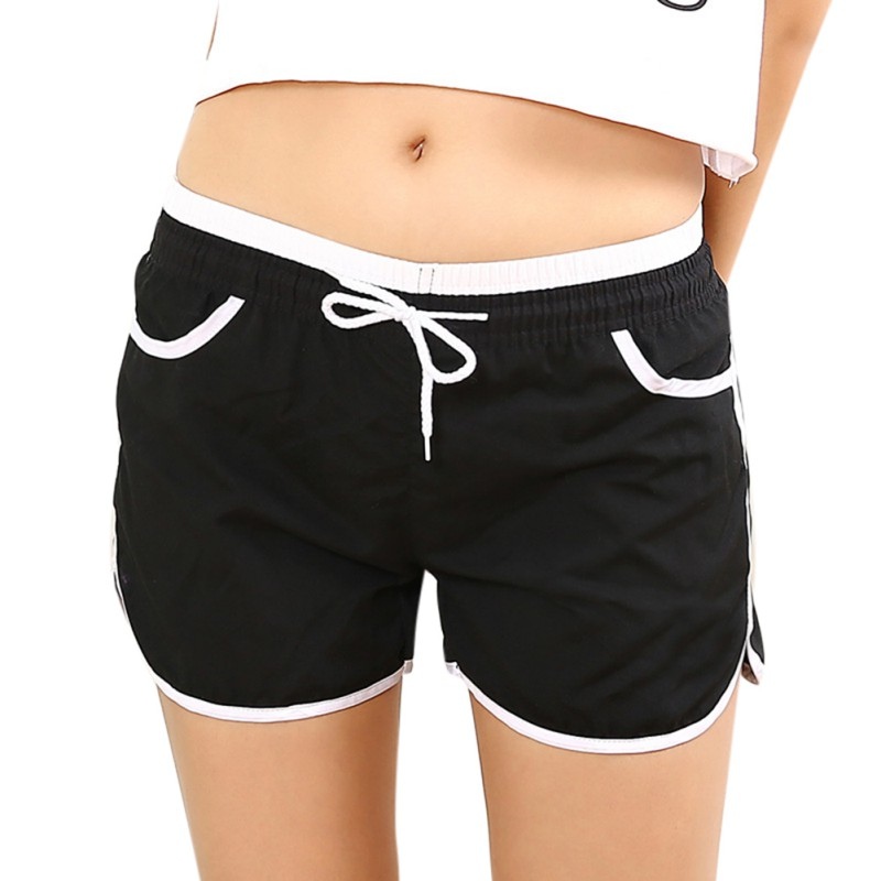 Summer Women Pocket Straight   Shorts   Casual Spliced Rolling Side Split Mid Elastic Waist Quick Dry   Shorts   Solid Color   Short   Pant