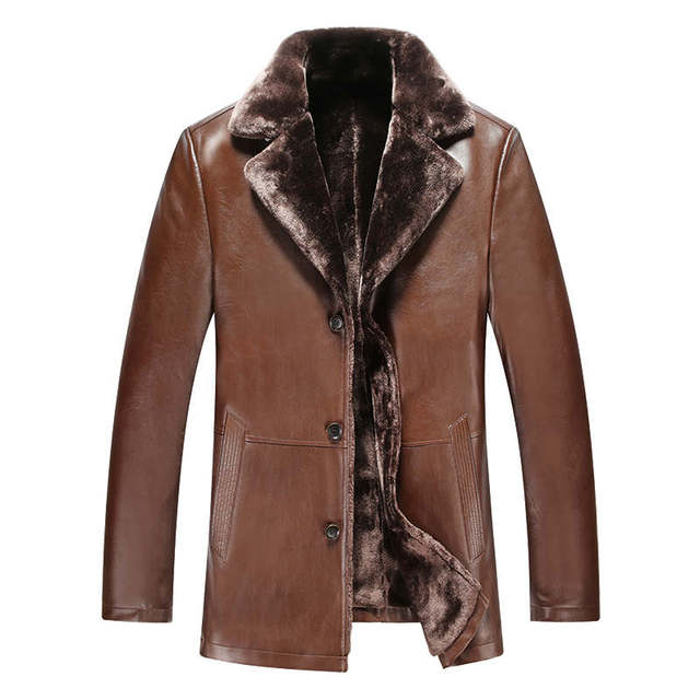 Free shipping!The New Winter 2016 Men Fur Leather jacket High quality men Long Leather Trench Coat Upset Man Warm Fur CoatM-XXXL