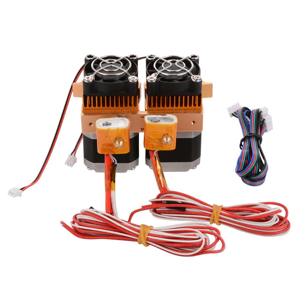 Здесь можно купить  Dual MK8 Extruder Print Head w/ Stepper Motor Nozzle & fan for 3D Printer TE427 Dual MK8 Extruder Print Head w/ Stepper Motor Nozzle & fan for 3D Printer TE427 Компьютер & сеть