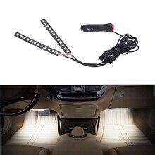 цена на New White 2PCS 12 LED Car Interior Footwell Floor Decor Atmosphere Light Auto Neon Lamp Strip