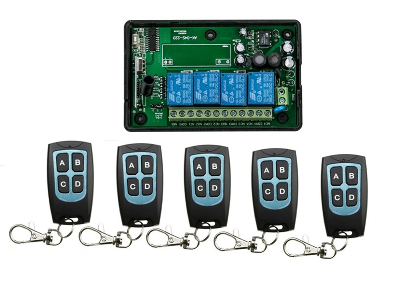AC110V 220V 4CH RF Wireless Remote Control System / Radio Switch remote switch 220V Learning code receiver+ 5 remote controller