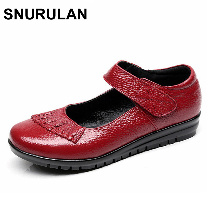SNURULAN New Handmade Genuine Leather Women's Ballet Flat Shoes Female Casual Loafers Woman Comfortable Car-Styling Shoe